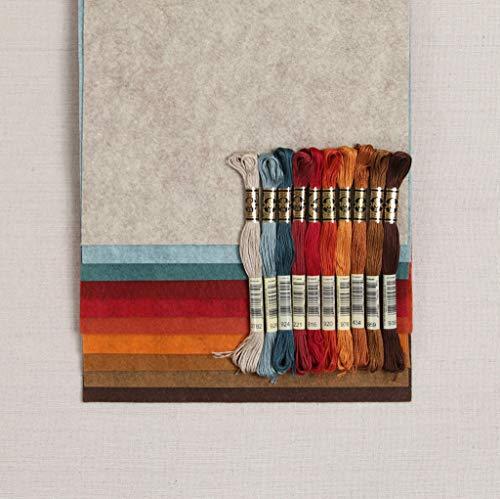 Wool Felt, Harvest Moon Fall Colors, 10 Sheets Autumn Wool Blend Felt (10 1/2 Yard cuts with Coordinating Floss)