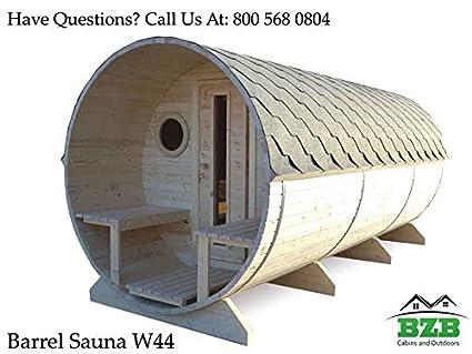 BZBCabins.com Barrel Sauna Kit W44, 6 Person Outdoor Sauna With Harvia M3  Wood