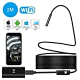 WiFi Endoscope,USB Borescope Loupe Wireless Borescope Ear Scope Snake Inspection Camera 2.0MP HD IP67 Waterproof Android iPhone iOS Windows-2M Hard Cable