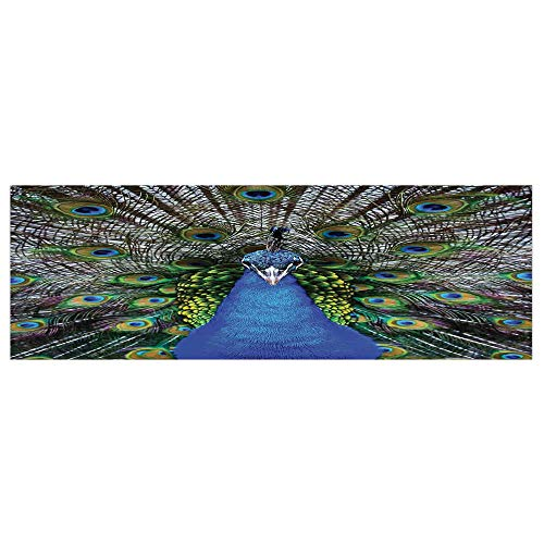"70.8""x23.6"" Removable Wall Mural Stickers,Peacock,Magnificent Peacock Portrait with Vibrant Colorful Feathers Photo Pattern,Blue Green Brown,Home Decor Prints Painting Artwork"