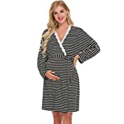 Ekouaer Labor/Delivery/Nursing Hospital Gown Maternity, Hospital Bag Must Have (Black,XL)