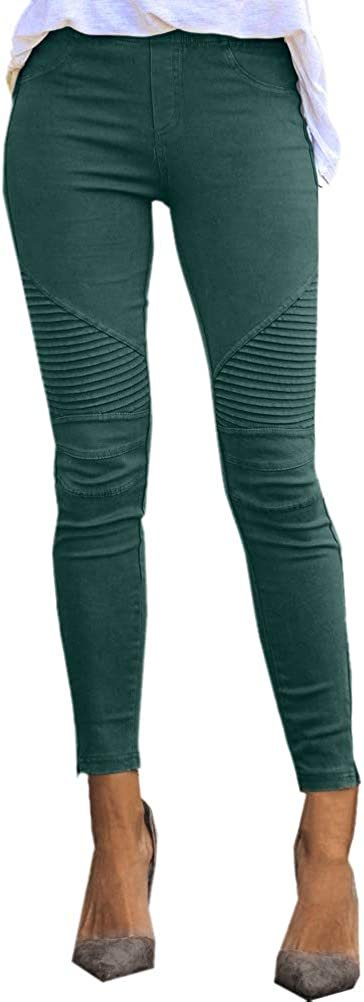 Onsoyours Damen Hosen Elegant Hohe Taille Stretch Leggings Slim Bleistifthose Freizeit Hose Skinny Pants Einfarbig Bequeme Elastischer Taille Hosen