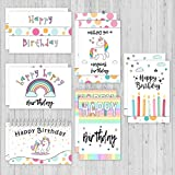Happy Birthday Greeting Cards - 4x7 Inches of 6 Assorted Pastel-Color Design with Envelopes - Perfect for Birthday Gift and Party Invitations for Girls, Boys, etc- Bulk Set 48 Half-Folded Card Set