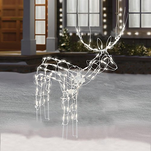 48 inch Animated Lighted Christmas Buck Sculpture -