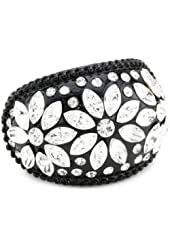 "Betsey Johnson ""Iconic Jet"" Crystal Flower Stretch Ring, Size 7.5"