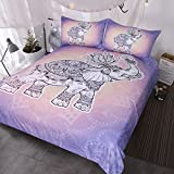 BlessLiving 3 Piece Royal Elephant Bedding Turtle Bed Set Mandala Lotus Duvet Cover Indian Art Pretty Pink Lavender Bedspread (Full)