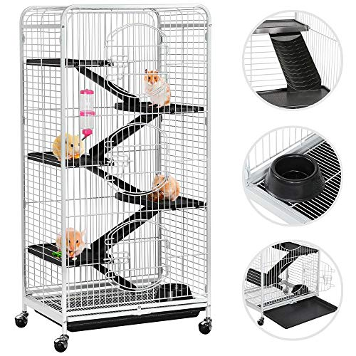 "Topeakmart 6 Level 52"" Large Ferret Cage Chinchilla Squirrels Rabbit Small Animal Hutch Cage w/Wheel/3 Front Doors/Bowl/Water Bottle Indoor Outdoor White"