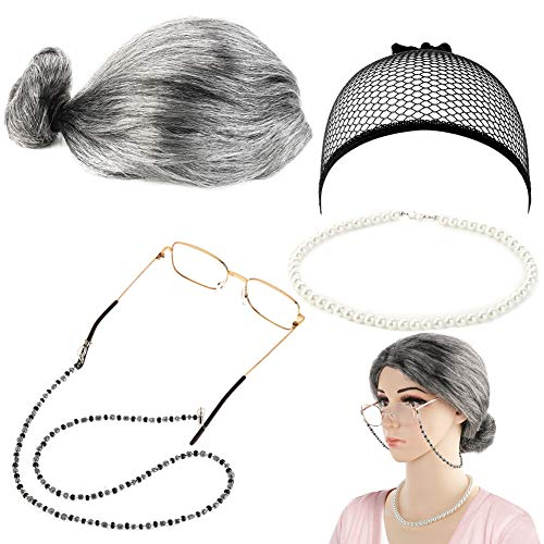 Ruixin 5 Pieces Old Lady Granny Wig, Wig Cap, Madea Granny Glasses, Eyeglass Chains for Dress Up