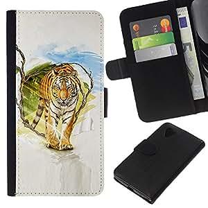 KLONGSHOP // Tirón de la caja Cartera de cuero con ranuras para tarjetas - Tigre Pintura Arte - LG Nexus 5 D820 D821 //