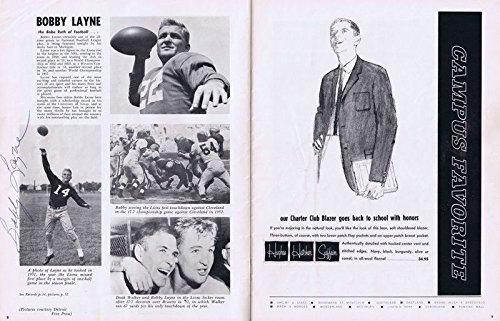 Bobby Layne Day Signed Original Vintage 1963 Lions vs Steelers Program