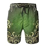 Richard Lyons Arabesque Frame With Lotus Shade Floral Swirls Little Hearts And Dots Decorative Men's Quick Dry Beach Shorts Casual Comfortable Surf Shorts L