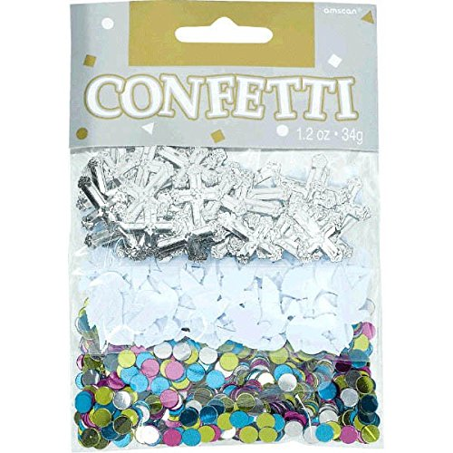 Amscan 369420 Blessed Day Value Pack Foil Confetti, 1.2 oz, Multicolor -