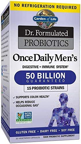 Garden of Life Dr. Formulated Once Daily Men's Shelf Stable Probiotics  15 Strains - 50 Billion CFU Guaranteed Potency to Expiration - Gluten Dairy & Soy Free One a Day, Prebiotic Fiber, 30 Capsules