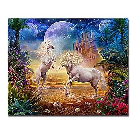 Qazzsf Diy Pintura Al óleo Por Número Mágico Unicornios Lienzo