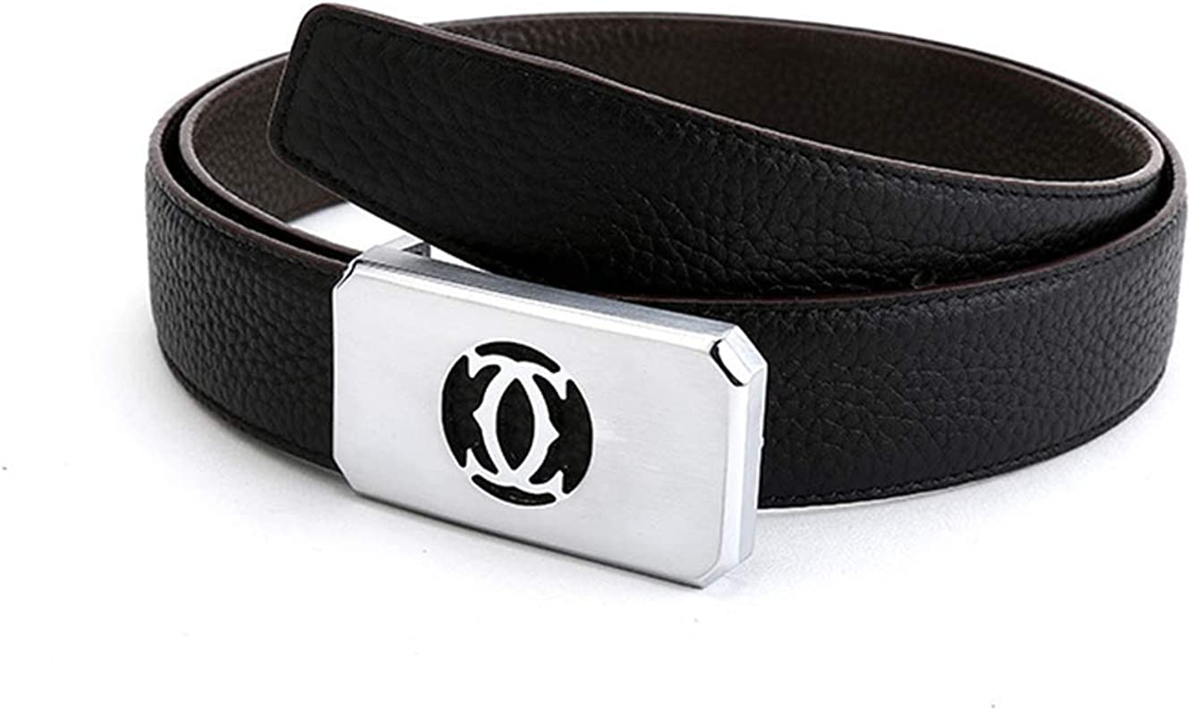 Mens leather smooth buckle fashion belt