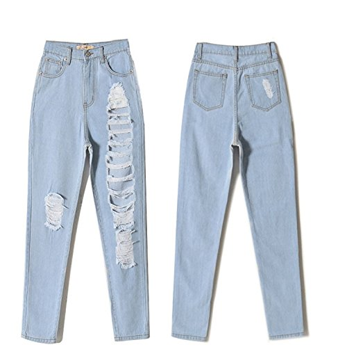 Denim Colore Pantaloni Blue Allentato Denim For Ruanyi Nove Solido Women pq7Evqxw