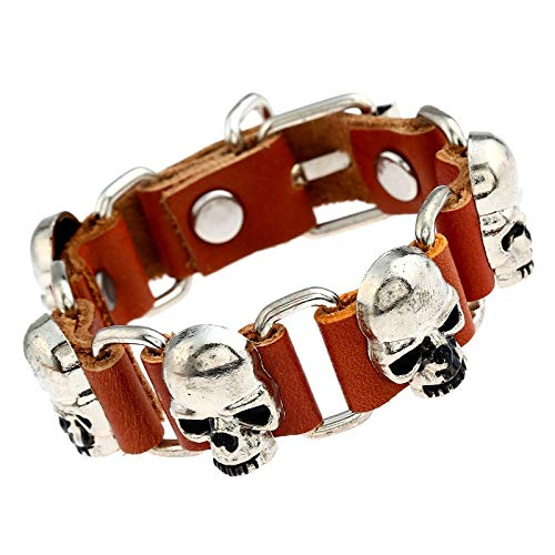 Lannmart Punk Creative Personality Skull Shape Alloy Iron Accessories Leather Connection Bracelet Street Shooting Souvenirs