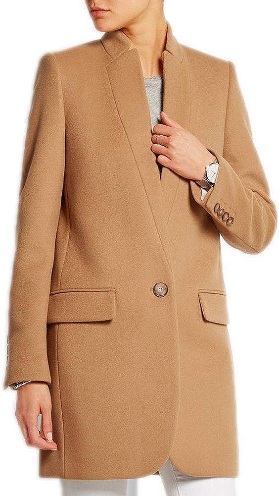 Yeharis Womens Wool Blend Coat Lapel Long Sleeve Blazer Jacket Slim Fit Overcoat