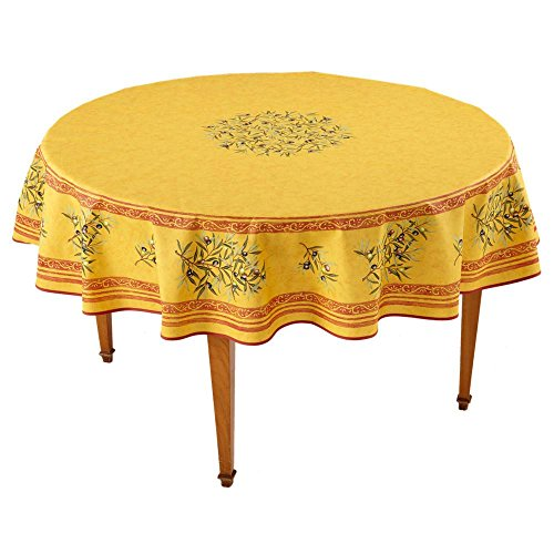 Coated Tablecloth - Occitan Imports Clos des Oliviers Safran Round French Tablecloth, Coated Cotton, 71 in diameter