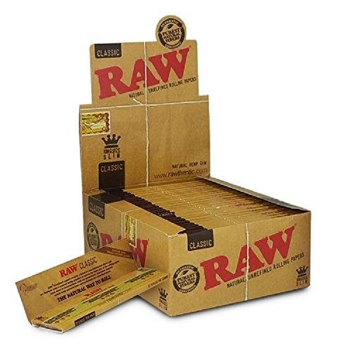 Raw Classic King Size Slim Rolling Paper Full Box of 50 Packs by Raw