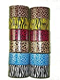 Bazic 1.88' X 5 Yard Safari/Animal Print Duct Tape, Assorted Colors, 12 Rolls by Bazic
