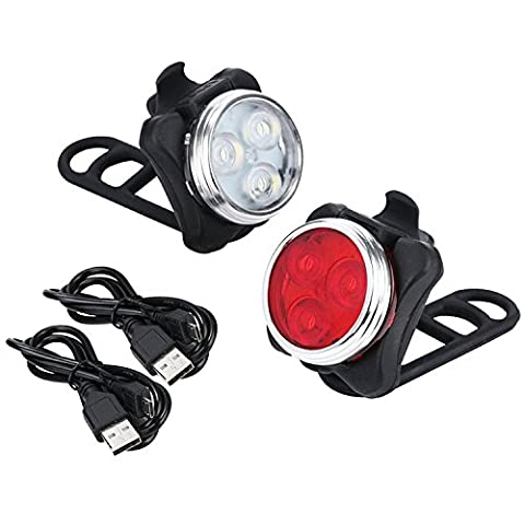 LED Bike Light Set, Arespark LE Rechargeable Headlight Taillight Combinations,Includes Front and Rear Bicycle Light Set, Bike Lights,2 USB Cables,4 Light Modes, 350lm,Water Resistant, (Bike Back Light Usb)