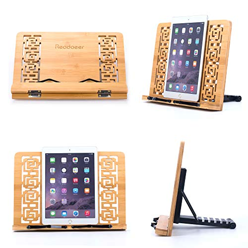 Reodoeer Bamboo Book Stand Reading Rest Cook Book Document Holder Foldable Pad Textbook Files Stand by Reodoeer (Image #3)
