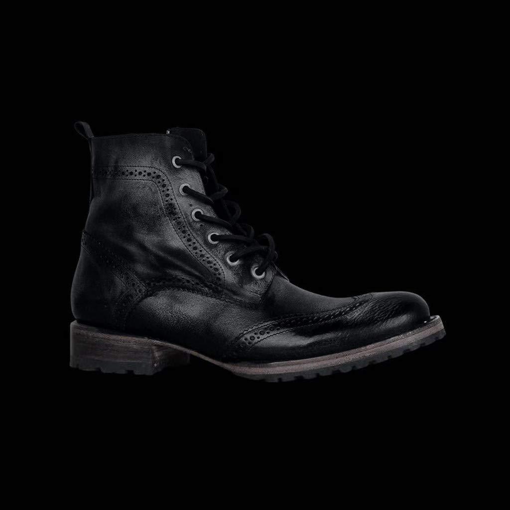Chaussures dext/érieur en Cuir /à Lacets pour Hommes Plates Bout Rond Bottines Talon Bas Pas Cher Talons de Pluie Taille Fantaisie Guess Bottes Vintage avec Bottines