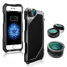 iPhone 6/6s Camera Lens Kit, OXOQO 3 in 1 198 Degree Fisheye Lens + 15X Macro Lens + Wide Angle Lens with Dustproof Shockproof Aluminum Case 4.7 Inch(Black)
