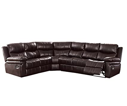 Amazon.com: ACME Lavinia Espresso Leather-Aire Reclining Sectional ...