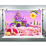Cartoon Candy World Sweets Backdrop for Photography 9x6ft Ice-Cream House Lollipop Sun Rainbow Background Baby Shower Birthday Party Banner YouTube Photo Studio Props LUCKSTY LUGY017 Party Accessories