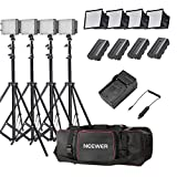 "Neewer® 4x 160 LED light kit Dimmable Ultra High Power Panel Lighting Kit,Includes:(4)CN-160 Light+(4)5.9""x6.7""/15x17cm Softbox+(4)Battery Replacement+(4)6ft/190cm Light Stand+(1)Bag"