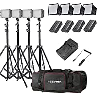 Neewer® 4x 160 LED light kit Dimmable Ultra High Power Panel Lighting Kit,Includes:(4)CN-160 Light+(4)5.9x6.7/15x17cm Softbox+(4)Battery Replacement+(4)6ft/190cm Light Stand+(1)Bag