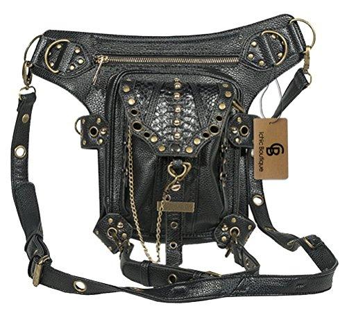 V SHOW Black Men's Shoulder Bag Messenger Bag - 3