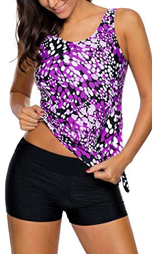 Bettydom Mujer Traje Soportivo Gota de rocío Lazos laterales con pantalones de natación Tankini Sets Bikini Violeta
