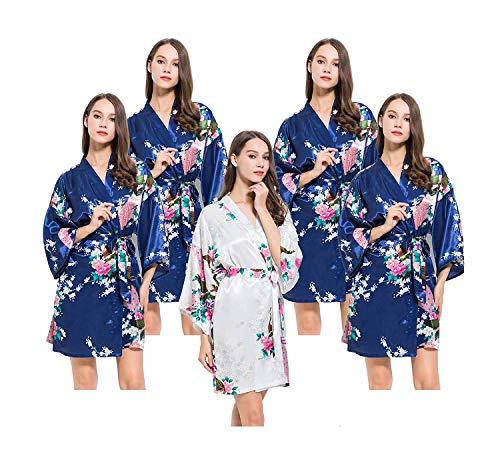 Un Tamaño Floral Casuales Estampado Pijama Camisón Kimono Vestido Largo Navy Rosado Mujeres Mujer Vintage Albornoz Para 0wSqazS6OT