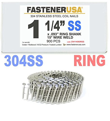 1 1/4'' x .093 RING 304 STAINLESS COIL NAILS 15 DEGREE WIRE 900ct SidePak
