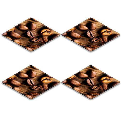 Coasters coffee beans on wooden background Image 24836670 by MSD Square Coasters (4 Piece) Set Cup Mat Mug Can Water Bottle Drink Customized Stain Resistance Collector Kit Kitchen Table Top Desk