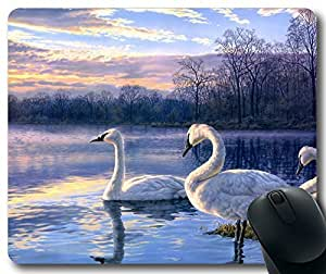 Art-Painting-Swan-Lake-Sunset-Landscape Mousepad,Rectangle Mouse Pad by mcsharks
