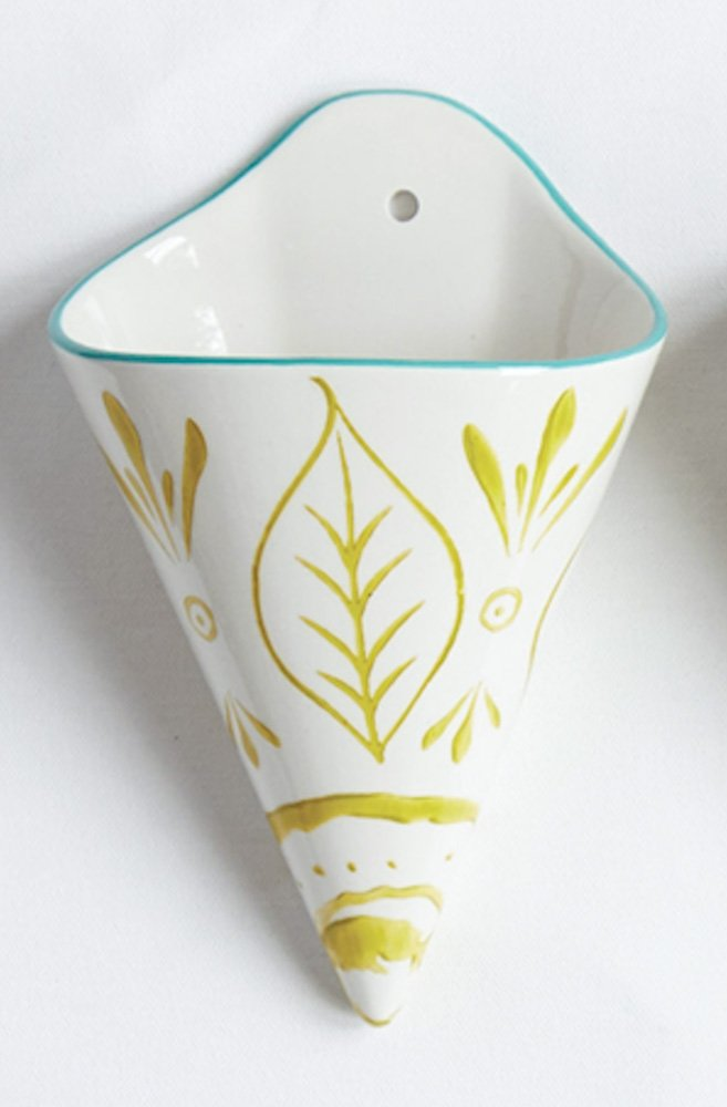 Mint And Lime Green Tribal Leaves Pattern 5 x 8 Stoneware Hanging Wall Vase