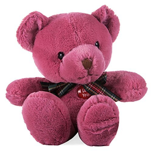 18cm Adorable Teddy Bear 12s Voice Recording Doll Sound Recordable Plush Toy Soft Stuffed Animal Doll (Wine Red)