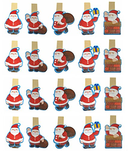 QTMY 20 Pcs Father Christmas Santa Claus Wooden Clip Hanging Photos with Twine Decoration Supplies Favors (Differnt Nuts)