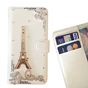 Paris Tower Love Flower Crystal Diamond Waller Leather Case Cover 3D Bling For Sony Xperia Z3 / L55T /- THE- /