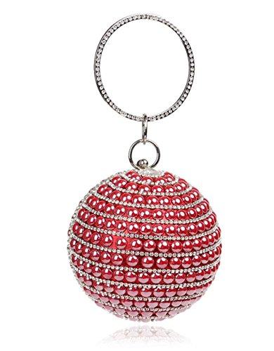 Handbag Wedding Women Bridal Diamante For Gift Bag Bag Shoulder Evening Party Purse Prom Glitter Clutch Pearl Circular Clubs Red Ladies xOOrnqI