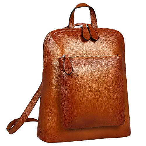 Heshe Women s Vintage Leather Backpack Casual Daypack for Ladies and Girls Sorrel