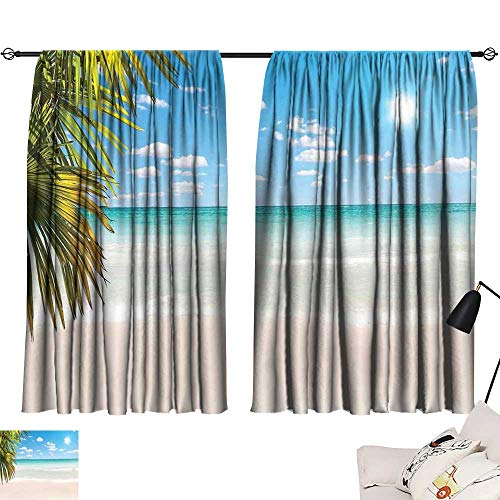 Crystal Clear Astoria (Ediyuneth White Curtains Ocean,Dreamy Caribbean Beach with Crystal Clear Water Sky and Palm Leaves Print,Cream Turquoise Green 72