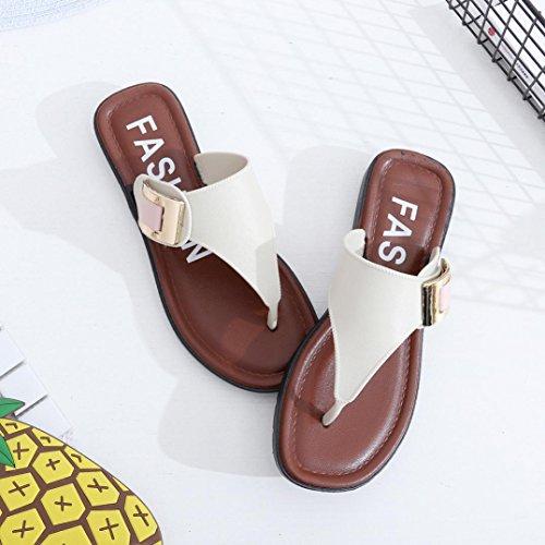 Aimtoppy Casual Beach Donne Sandali Con Pantofola Sandali Piatti Estivi Moda Infradito (us: 7.5, Bianco) Bianco