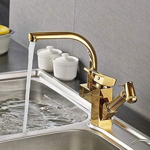HXC-HXC 蛇口キッチン蛇口付きプルダウン冷たい水スプレーシンクタップゴールド簡易インストールするには台所浴室の蛇口(カラー:ゴールド、サイズ:フリーサイズ) 蛇口