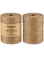 Anstore 400 M natuurlijk jute touw, 1312 voet 2 rollen jute string kunst en ambachten touw voor geschenkverpakking, schilderijweergave, bloemisterij, bruiloft decoratie en tuin