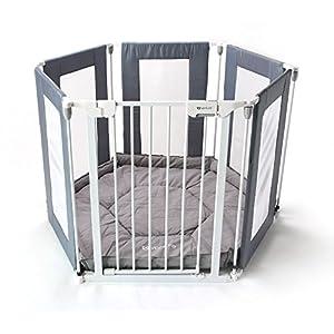 ALL STARS Parc pour bébé en tissu à 6 panneaux, utilisation 3 en 1 (parc, séparateur de pièce, barrière pour escalier), tapis de sol matelassé, produit solide et durable 18